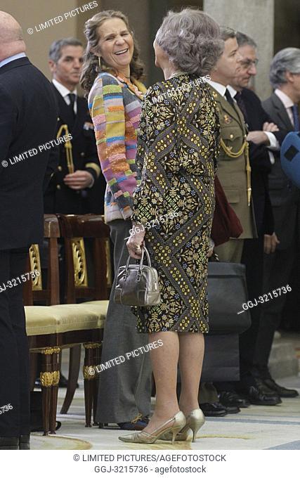 Princess Pilar de Borbon, Queen Letizia of Spain, King Felipe VI of Spain, King Juan Carlos of Spain, Queen Sofia of Spain and Princess Elena de Borbon attend...