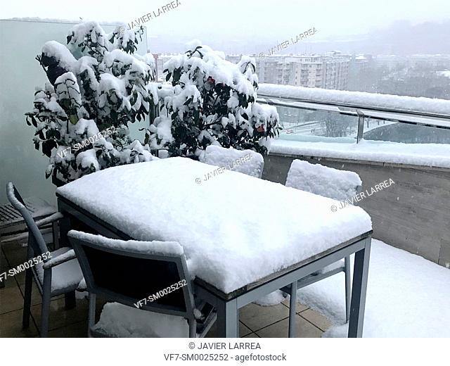 Snowy terrace, Donostia, San Sebastian, Gipuzkoa, Basque Country, Spain , Europe