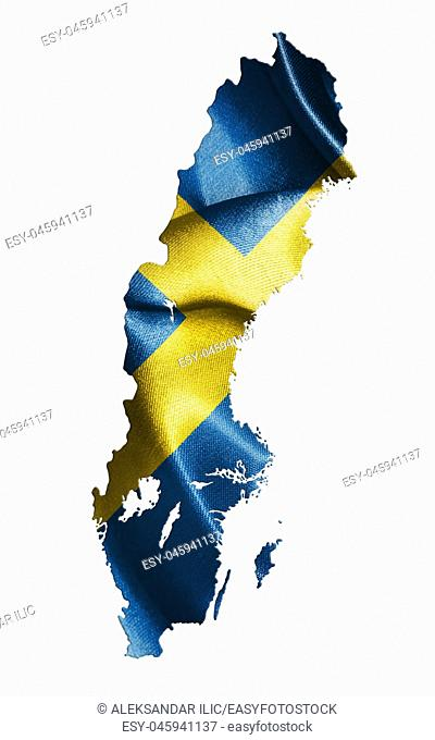 Sweden National Flag and Map Isolated On White Background Illustration