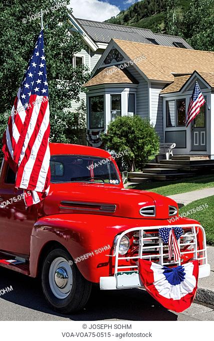 Antique Red Truck and US Flag, July 4, Independence Day Parade, Telluride, Colorado, USA