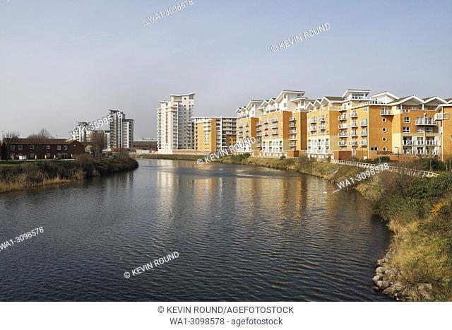 Modern apartment blocks, River Taff in Cardiff, Wales UK