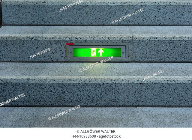 exit sign on stairs