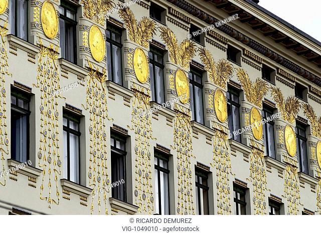 AUSTRIA , VIENNA , 27.06.2007, Adornments and windows, Wienzeilenhhaus by Otto Wagner - VIENNA, AUSTRIA, 27/06/2007