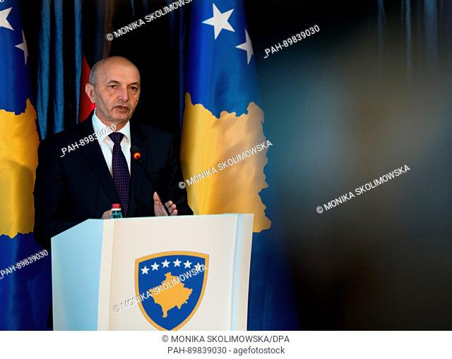 Prime Minister of Kosovo Isa Mustafa speaks during a joined press conference with German Minister of Foreign Affairs Sigmar Gabriel (SPD) in Pristina, Kosovo