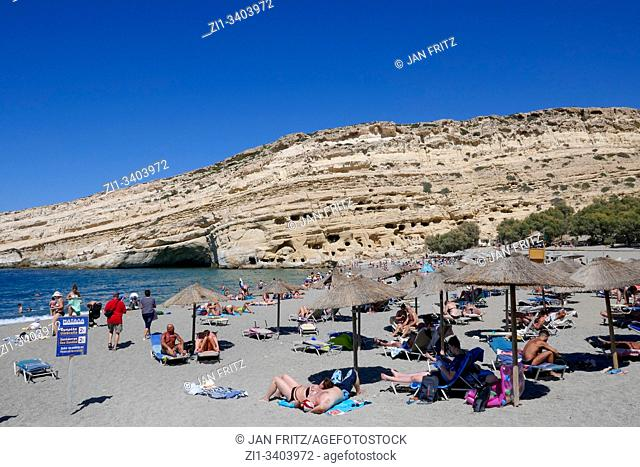 famous Matala beach on Crete, Greece