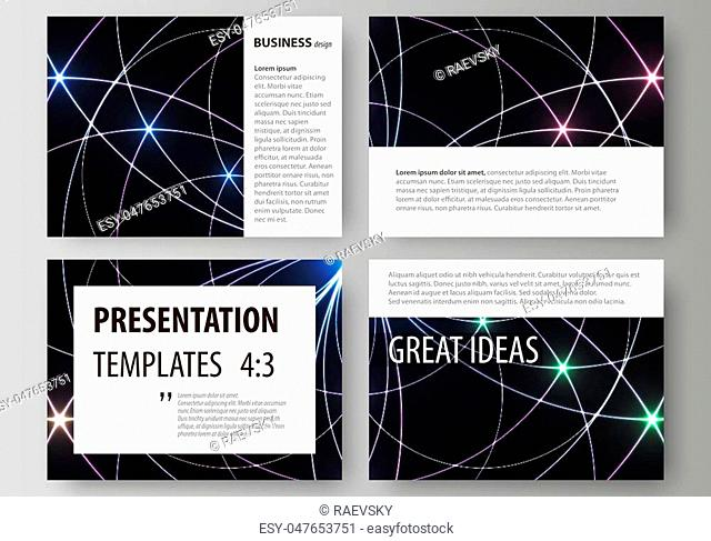 Set of business templates for presentation slides. Easy editable abstract vector layouts in flat design. Sacred geometry, glowing geometrical ornament