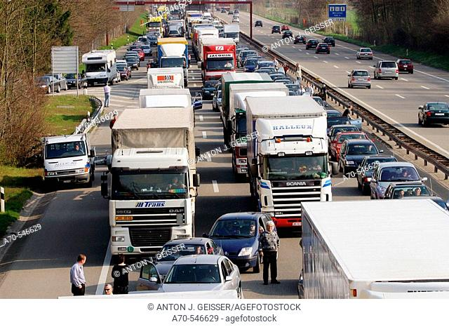 Traffic jam due to accident. A1 Freeway (Zurich-Bern). Switzerland