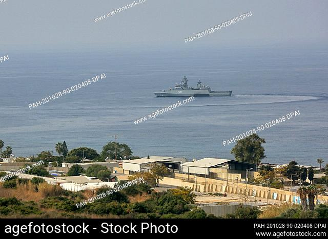 28 October 2020, Lebanon, Naqura: A United Nation Interim Force in Lebanon (UNIFIL) warship secures the water near the base