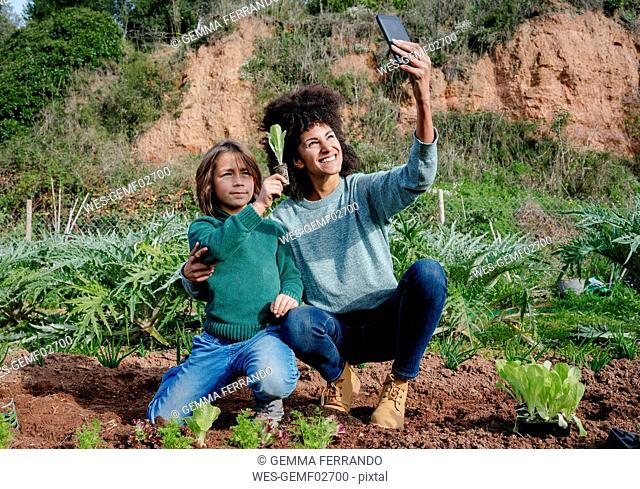 Mother taking selfies of planting lettuce seedlings in an vegetable garden, with her son