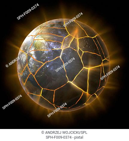 Artwork of the planet earth with cracks, environmental concept