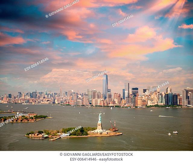Manhattan skyline from high vantage point