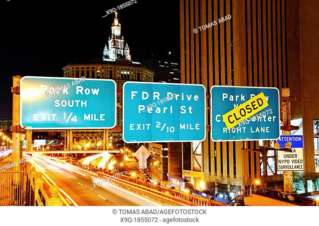 Road Signs on the Brooklyn Bridge, New York City, USA