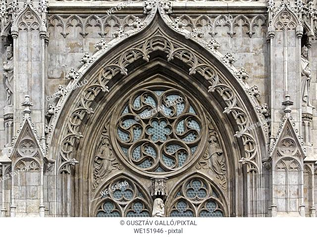 Budapest, Hungary, Buda Castle, Matthias church door ornament