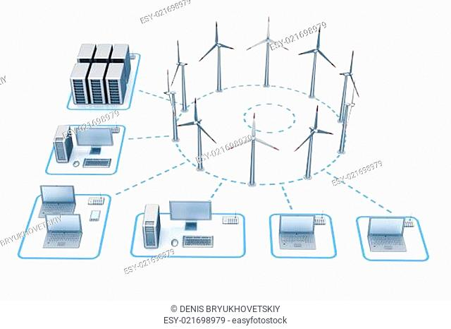 Windmill energy network