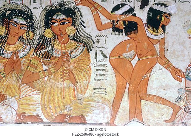 Fragment of wall painting from the tomb of Nebamun, Thebes, Egypt, 18th Dynasty, c1350 BC. Though a standard subject for a Theban tomb painting