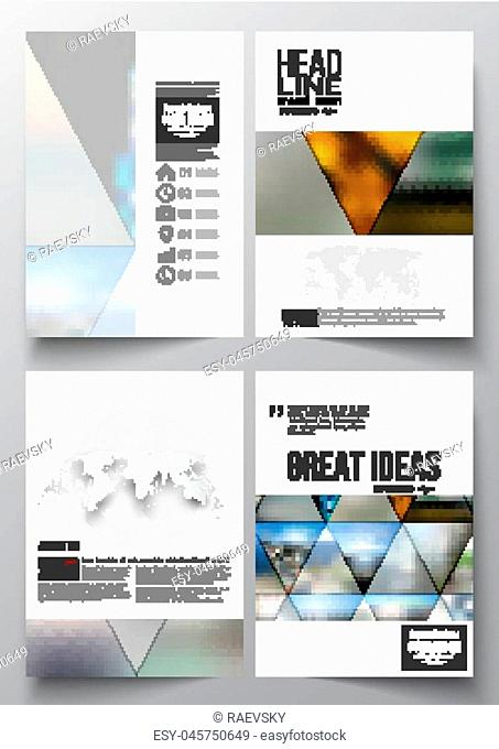 Set of business templates for brochure, magazine, flyer, booklet or annual report. Abstract colorful polygonal background, natural landscapes, geometric