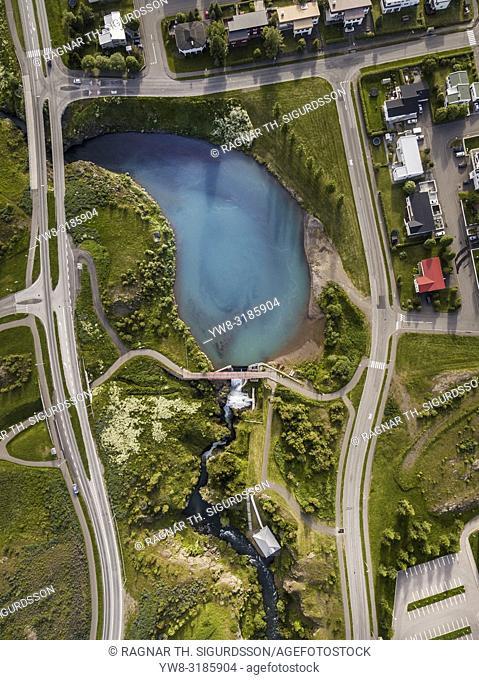 Aerial of Glera river, Akureyri, Northern Iceland