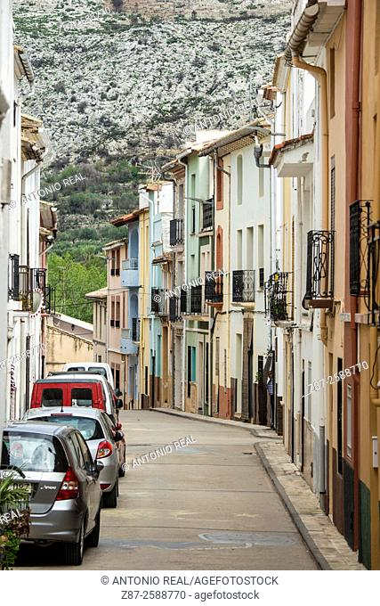 Street and typical houses, La Vall D'Ebo, Marina Alta, Alicante province, Spain