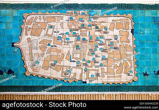 KHIVA, UZBEKISTAN - MAY 01, 2014: The map of historical center of Khiva on the ceramic tiles