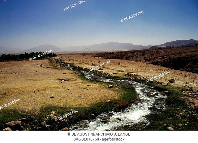 Stream, arid ladscape, Firuzabad, Fars Province, Iran