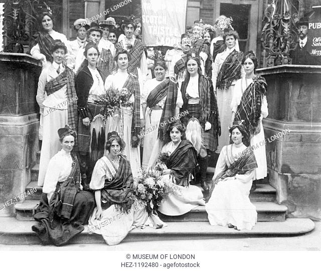 Scottish suffragettes welcoming Mary Phillips (standing third from left) on her release from Holloway Gaol, 23rd August 1908
