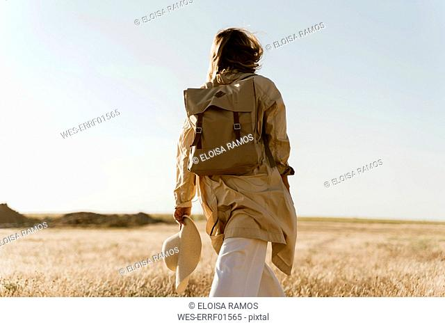 Rear view of female traveller with backpack on meadow