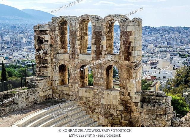 Odeon of Herodes Atticus, part of ancient Acropolis of Athens city, Greece
