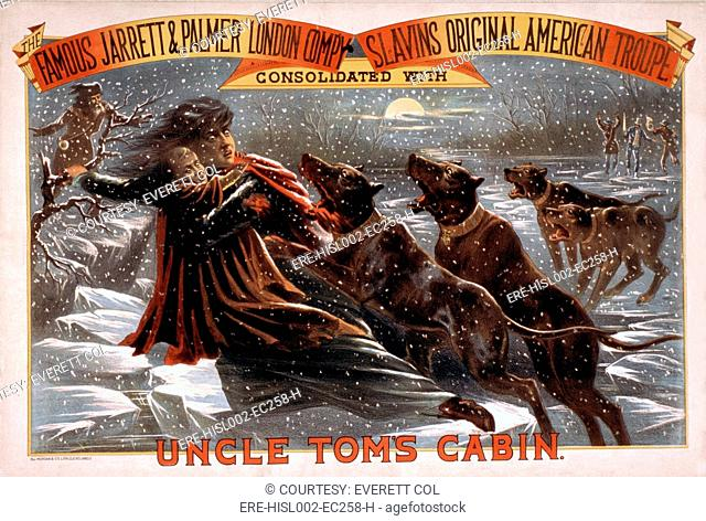 Poster for an 1881 theatrical production of Harriett Beecher Stowe's, Uncle Tom's Cabin showing Eliza escaping over the ice flows with bloodhounds in pursuit