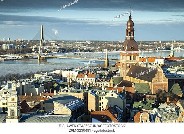 Winter morning in Riga old town, Latvia