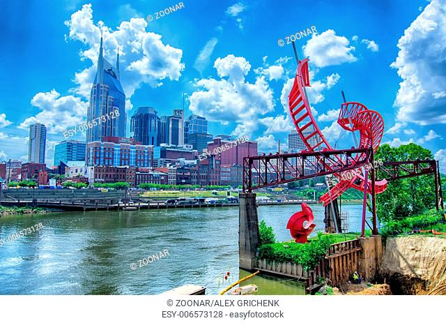 Nashville, Tennessee downtown skyline at Cumberland River