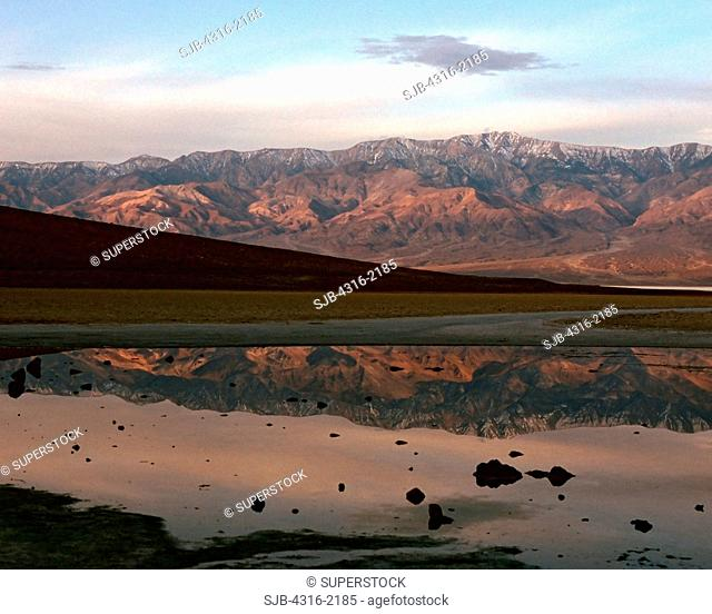 The Heights of Telescope Peak Reflect Off the Waters of Low Badwater Basin