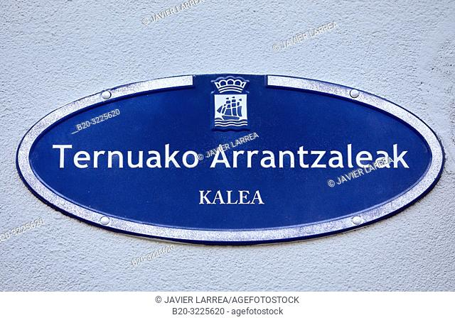 Street name plate: e calle Pescadores de Terranova, Ternuako Arrantzaleak kalea, Donostia, San Sebastian, Gipuzkoa, Basque Country, Spain, Europe