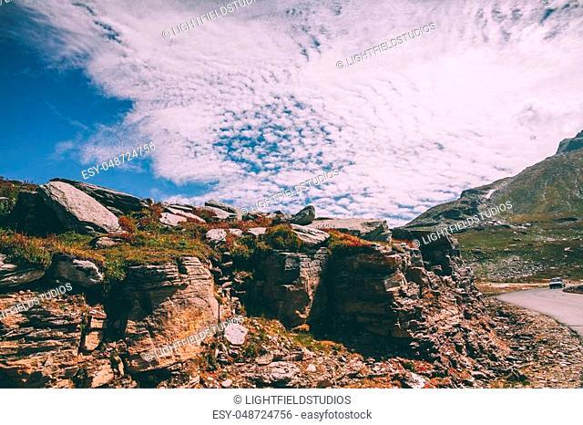 beautiful rocky scenic landscape in indian himalayas, keylong region