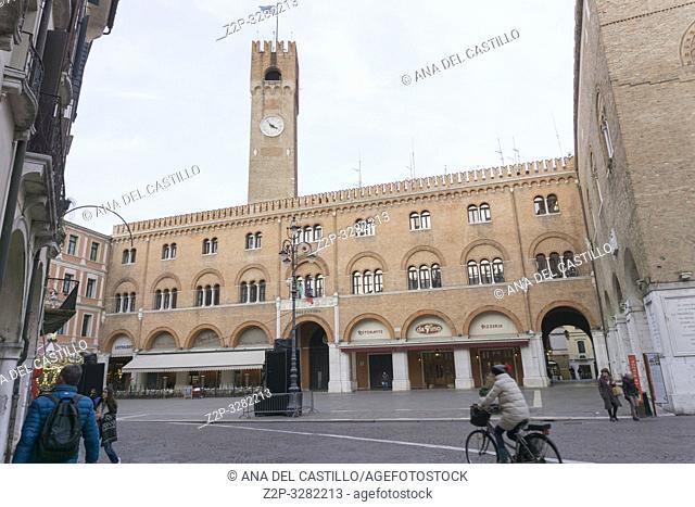 Treviso Italy on January 21, 2019: Cityscape at twilight. Building called Palazzo del Trecento on Square Piazza dei Signori