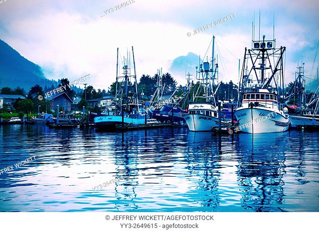 Fishing fleet in Crescent Harbor, Sitka, Alaska, USA