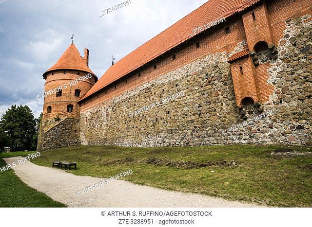 Defense tower and forecastle wall. Trakai Island Castle, Lake Galve, Trakai, Lithuania, Baltic States, Europe