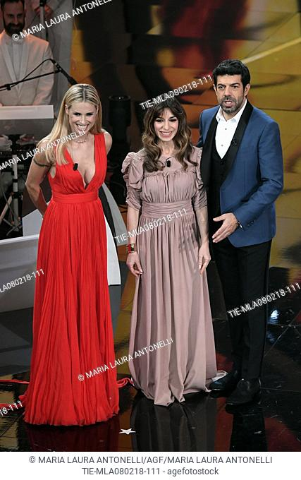 Michelle Hunziker, the actress Sabrina Impacciatore, Pierfrancesco Favino at the 68th Sanremo Music Festival, Sanremo, ITALY-07-02-2018