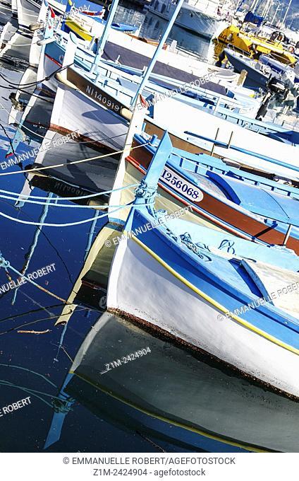 Boats aligned, Saint Jean Cap Ferrat, Picturesque fishing village , ALpes Maritimes, Provence Alpes Cote d'Azur, France, Europe