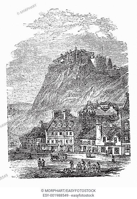 Edinburgh Castle in Scotland, during the 1890s, vintage engraving  Old engraved illustration of Edinburgh Castle