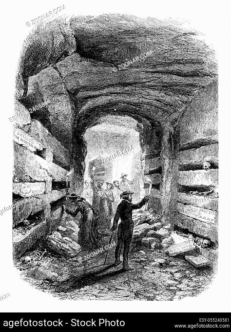 The Catacombs of Rome, vintage engraved illustration. Magasin Pittoresque 1861