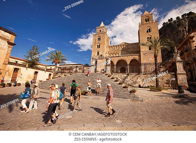 Tourists at the stairs of the Cathedral, Cefalu, Sicily, Italy, Europe