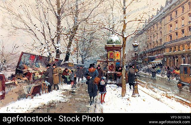 Galien-Laloue Eugene - Bookstalls in Winter Paris - French School - 19th Century