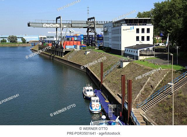 Containerterminal at the Vincke Canal in Duisburg harbour, North Rhine-Westphalia, Germany, Europe