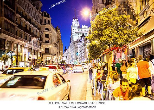 Gran Via street. Madrid, Spain