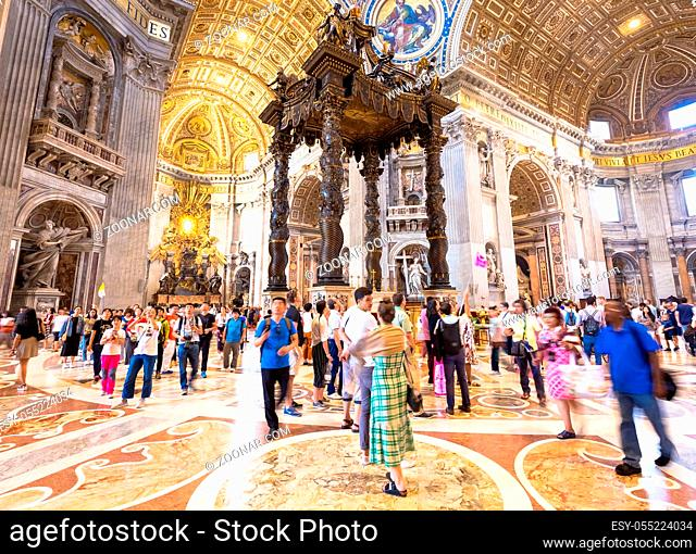 ROME, VATICAN STATE - August 24, 2018: interior of Saint Peter Basilica with mass-tourism arrival