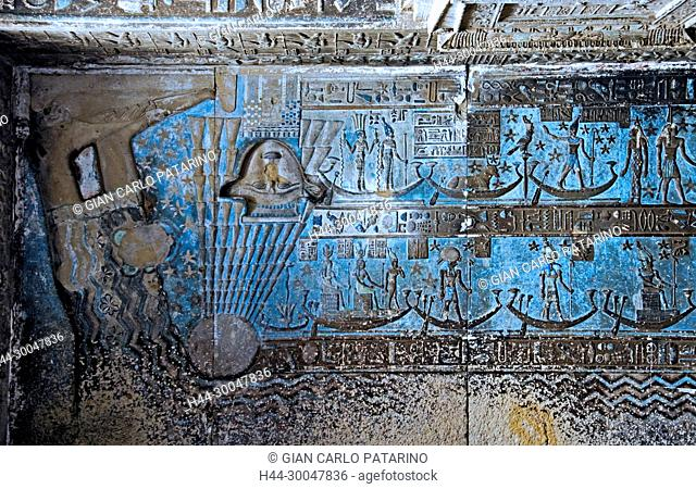 Dendera Egypt, temple dedicated to the goddess Hathor. View of hypostyle hall showing the goddess Nut in the ceiling