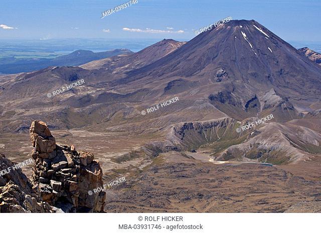 New Zealand, north-island, Mount Ruapehu, Whakapapa Skifield, view, Mount Ngauruhoe, Tongariro National park, national-park, reservation, mountains