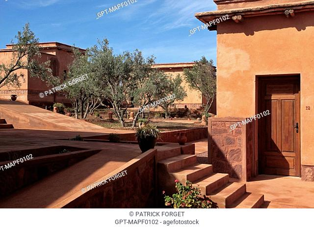 ECO-LODGES DESIGNED IN THE PURE BERBER TRADITION WITH ATTENTION GIVEN TO COMFORT AND RESPECT FOR THE ENVIRONMENT, TERRES D'AMANAR, TAHANAOUTE, AL HAOUZ, MOROCCO