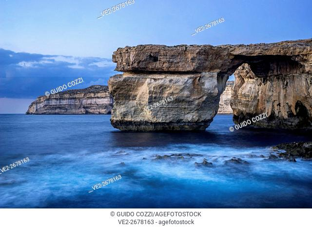 Malta, Gozo. Seascape at Azure Window natural arch, near St Lawrence