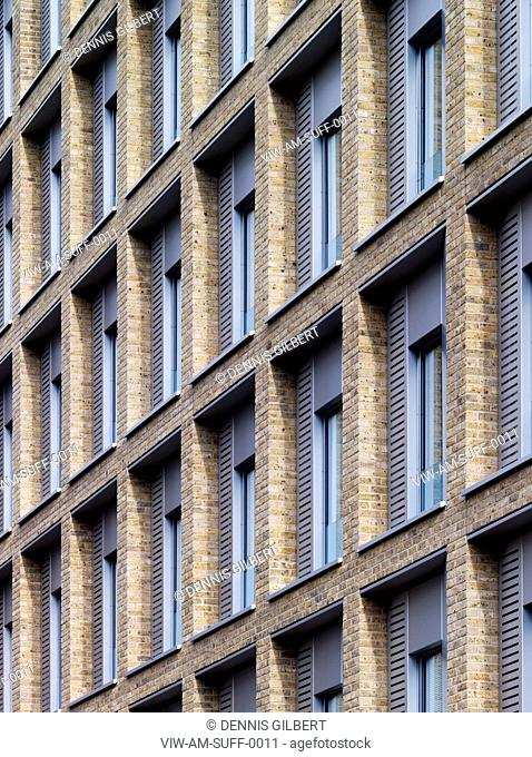 RESIDENTIAL STUDENT HOUSING ALLIES AND MORRISON LONDON 2010 FULL FRAME PERSPECTIVE OF BRICKWORK FACADE, LONDON, UNITED KINGDOM, Architect